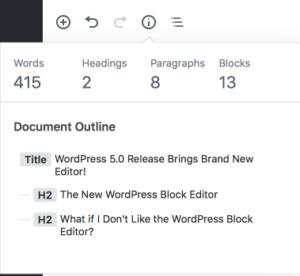 wordpress 5.0 block editor word count