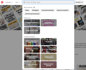 pinterest search bar find someone