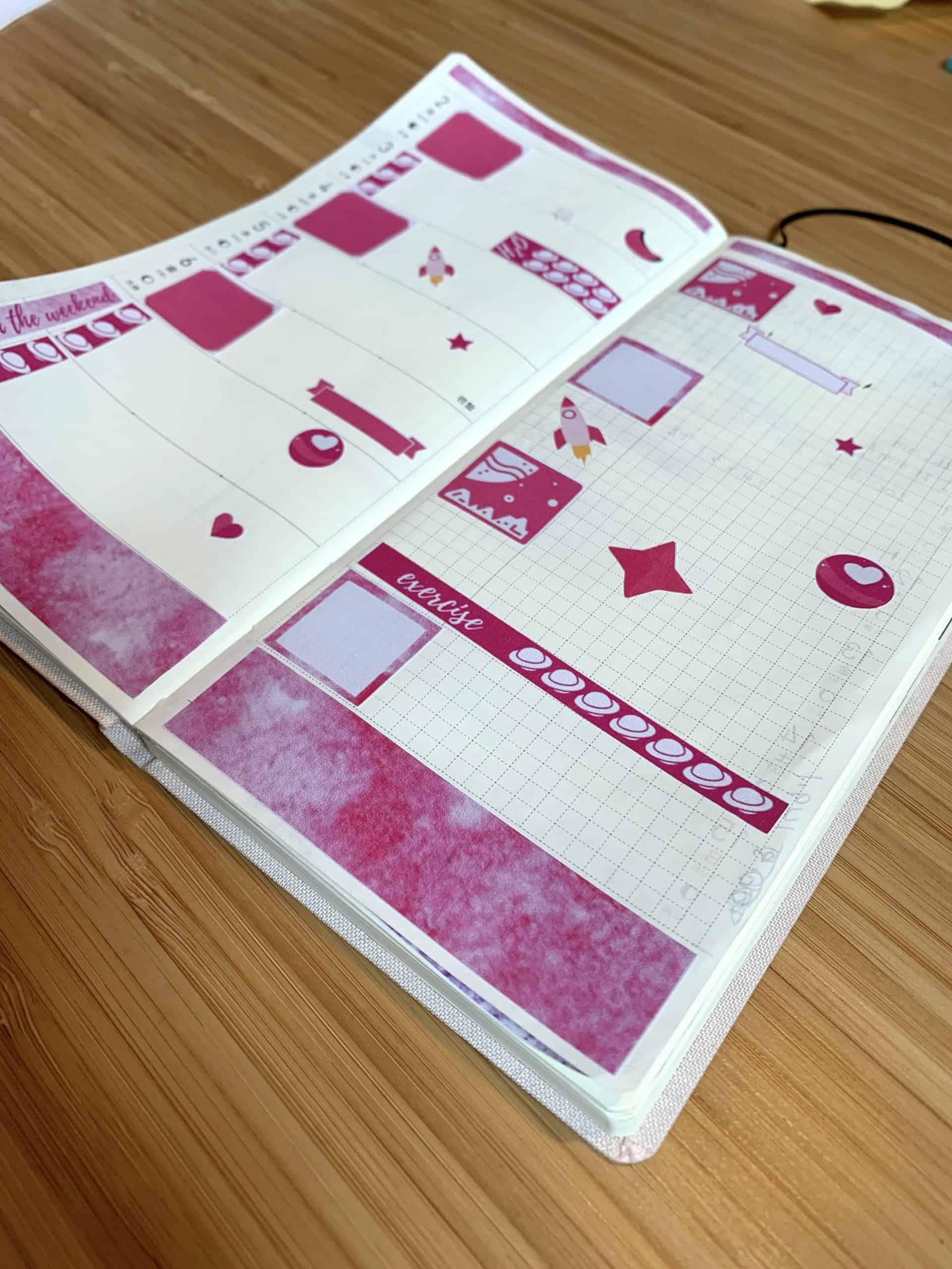 hobonichi weeks layout pink galaxy