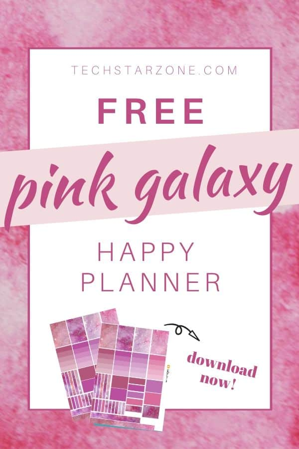free happy planner printable pink galaxy