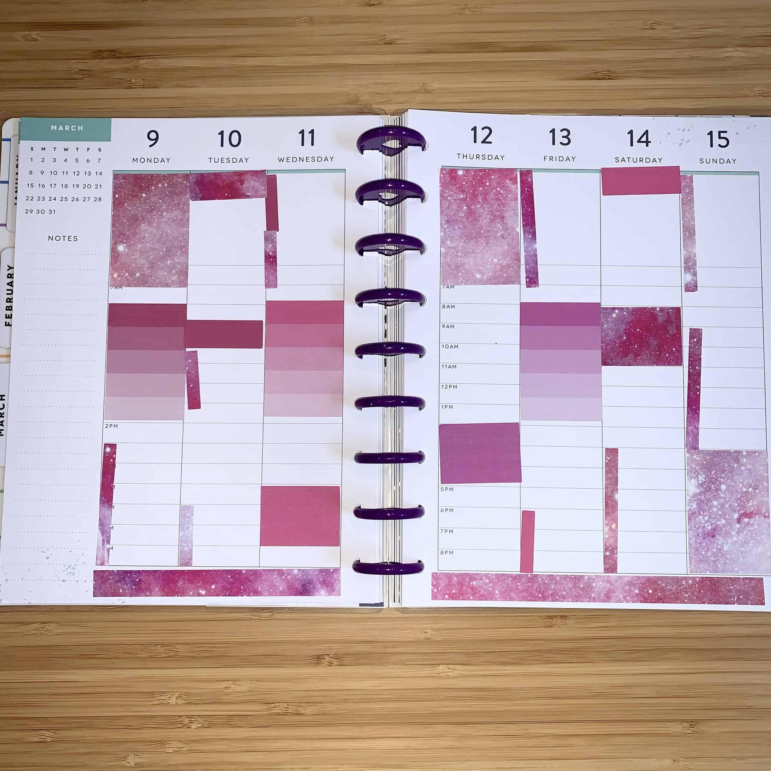 free happy planner printable weekly pink galaxy