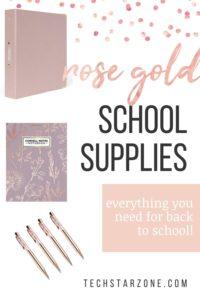 rose gold school supplies college high school